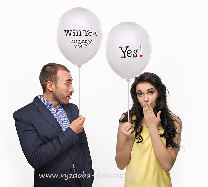 "Balón ""will you marry me"" - obojstranný (10ks)"